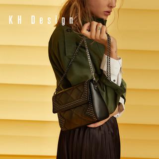 KH Design 明治 铆钉小方包头层牛皮