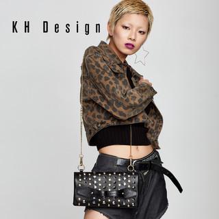 KHDesign明治女包真皮手拿包铆钉斜挎包专柜同款链条