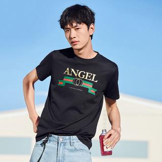 太平鸟男装 夏季短袖T恤男黑色印花体恤