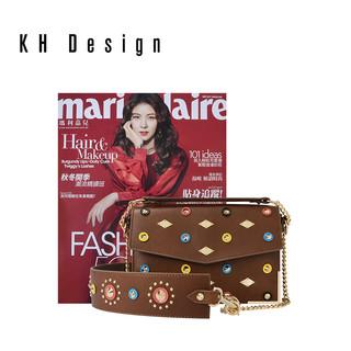 KH Design明治女包2018新款时尚真皮斜挎包个性铆钉单肩包小包