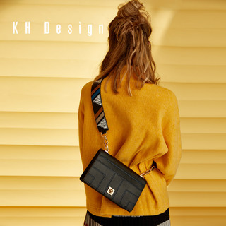 KH Design 明治 2019新款拼接小方包宽肩带斜挎包