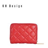 KH Design 明治 2019新款女包羊皮菱格拉链短款