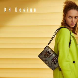 KH Design 明治 真皮宽肩带斜挎包 休闲单肩包