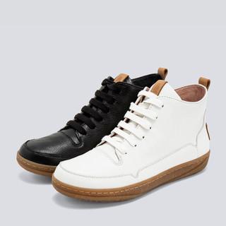 【商场同款】暇步士平底短靴女休闲系带皮靴2019秋冬新款B2I16DD9