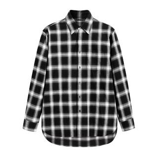 太平鸟男装 黑白格子衬衫