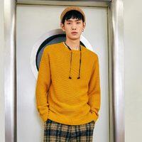太平鸟男装 秋冬新款姜黄色时尚毛套衫