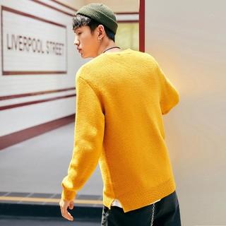 太平鸟男装 秋冬新款姜黄色时尚毛套衫下摆开衩潮流帅气羊毛毛衣