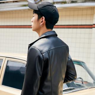 太平鸟男士外套春秋款PU夹克潮流皮夹克韩版修身外套连帽茄克上衣