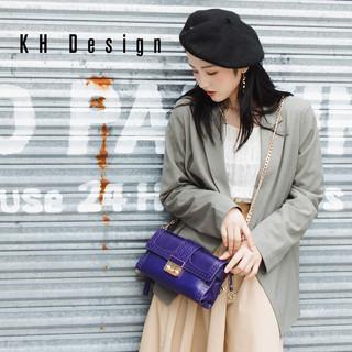 KH Design 明治 女包真皮链条包金属锁扣单肩包