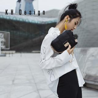 KH Design明治女包真皮小方包2019新款链条包锁扣包牛皮单肩包潮