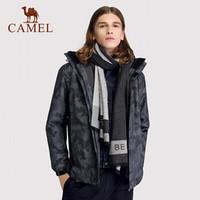 骆驼户外(CAMEL)冲锋衣情侣潮牌加绒加厚三合一两件套登山服 A8W268103 黑色印花/黑色 XL