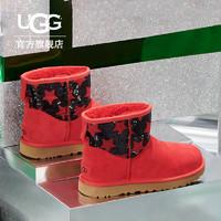 UGG2019秋冬 1109441 女士休闲短靴亮片星星款  36 RBRD 缎带红