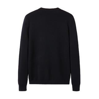 太平鸟 BWEB94109 冬季 刺绣圆领羊毛衫 S 黑色