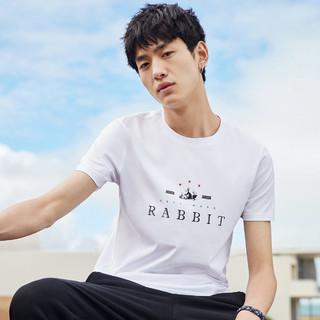 PEACEBIRD 太平鸟 2019年夏季 男士短袖T恤  L 白色