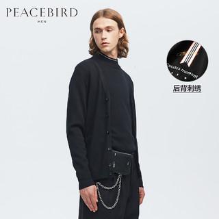 【商场同款】太平鸟男装 羊毛衫纯色针织开衫黑色毛衣男B1EA94327