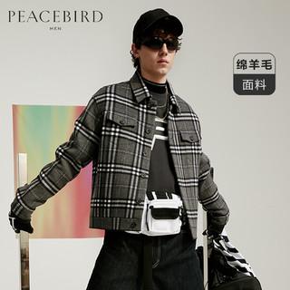 太平鸟男装 冬季新款翻领黑白格纹呢夹克