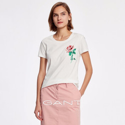 GANT/甘特 2019春夏新品女士气质玫瑰刺绣短T恤 4203434 白色-113 M
