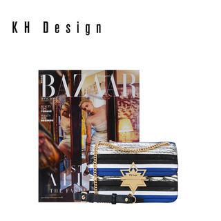 KH Design 明治 K1713A 真皮条纹拼接斜跨包
