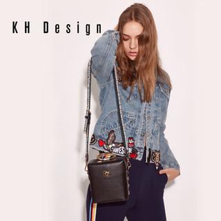 KH Design明治女包欧美复古方盒包2019新款刺绣斜挎包单肩包方包