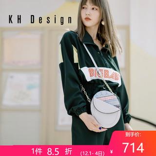 KHDesign明治女包个性复古小圆包2019新款休闲斜挎单肩小包椭圆包