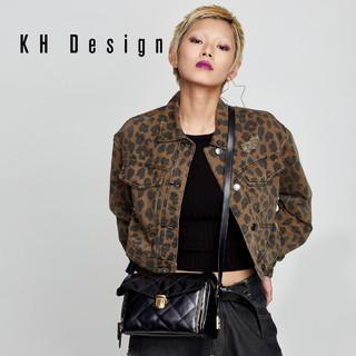 KHDesign明治女包专柜同款菱格小方包真皮斜挎包牛皮单肩小包包潮