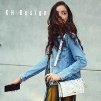 KHDesign明治女包专柜同款时尚女包2019新款宽肩带锁扣斜挎包小包