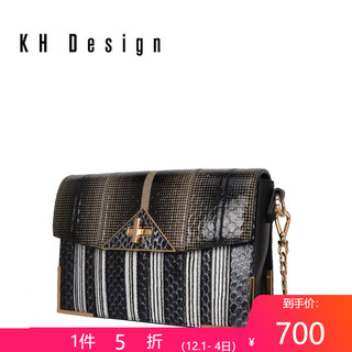 KH Design明治女包专柜同款真皮斜挎包蛇皮锁扣包2019新款链条包