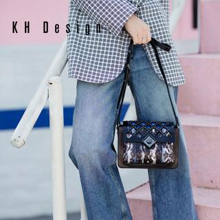KH Design 明治 K1219 牛皮蛇纹镂空斜挎包