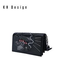 KHDesign明治真皮刺绣女包时尚斜挎单肩包专柜同款2019新款链条包