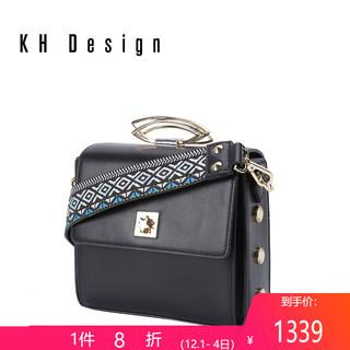 KHDesign明治女包宽肩带小方包专柜同款真皮斜跨包手提包新款单肩