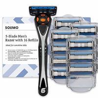 中亚prime会员 : 亚马逊品牌 - Solimo 5 剃刀,男士剃刀,带 16 个刀头