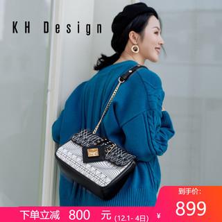 KHDesign明治女包真皮优雅单肩包车缝线斜挎包头层牛皮锁扣包新款