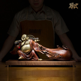 铜师傅 全铜摆件《财富弥勒》家居饰品 铜工艺品