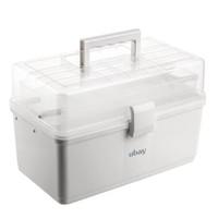 ubay 家用医药箱 多功能大号塑料收纳箱便携式出诊箱药品盒子手提多层急救箱 大号透明折叠  S3