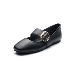 Tata 他她 专柜同款牛皮方头皮带扣女休闲鞋