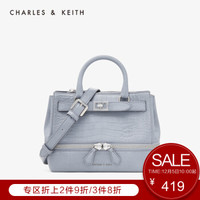 CHARLES&KEITH2019冬季新品CK2-31190004金属扣饰手提单肩包女 Grey灰色 M