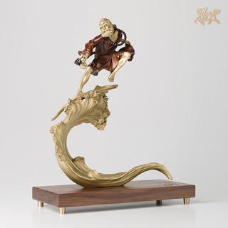 铜师傅 全铜摆件《达摩之一苇渡江》铜工艺品 家居饰品 摆件