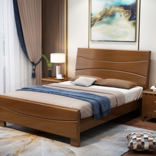 景山百岁 现代中式简约实木床  1.5m
