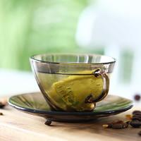 Duralex多莱斯 法国进口钢化玻璃螺纹咖啡杯碟套装咖啡色 *2件