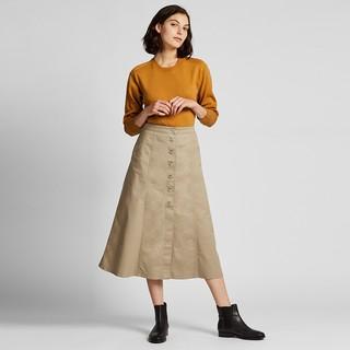 UNIQLO 优衣库 421919 高腰前排扣半身长裙