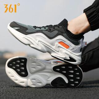 361男鞋运动鞋子老爹鞋冬季新款跑步鞋复古网面透气旅游鞋防滑休闲白色鞋 曜石黑/雾松绿 42