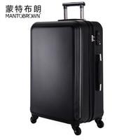 蒙特布朗防刮拉杆箱旅行箱登机箱20/24/28英寸行李箱 黑色 20英寸可登机