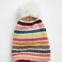 Gap 盖璞 女装 彩色条纹绒球小圆帽