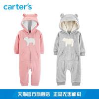 Carters婴儿冬装宝宝连身衣秋冬长袖连帽抓绒保暖哈衣爬服118I768