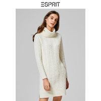 ESPRIT秋冬时尚高领扭花针织衫长袖翻领中长款针织衫连衣裙