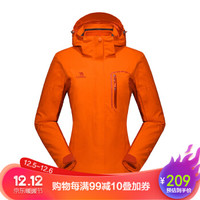CAMEL骆驼户外装备冲锋衣 女款防风防水保暖两件套冲锋衣 辣椒红/酒红 XL