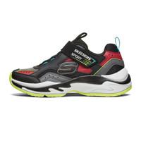 Skechers 斯凯奇 魔术贴舒适防滑百搭男童运动休闲鞋97825L 黑色/灰色/红色 33.5