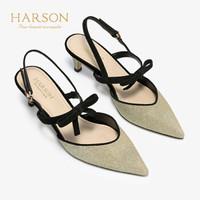 HARSON 哈森 HM96002 女士羊反绒细高跟凉鞋