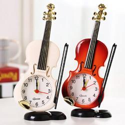 萌味 小提琴闹钟 创意乐器造型桌面时钟客厅摆件台钟儿童学生床头时钟创意电子礼品