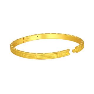 China Gold 中国黄金 手镯金手镯贵妃镯车花开口手镯